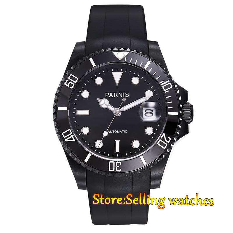 Parnis 40mm black dial luminous sapphire glass green ceramic bezel PVD case MIYOTA Automatic movement watch japan miyota 40mm pvd case parnis men s watch