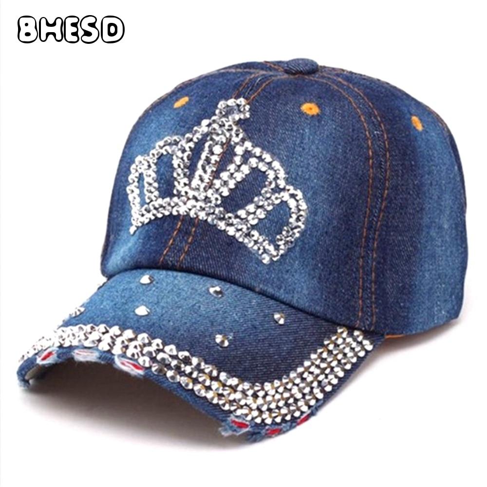 Prix pour BHESD 2017 Denim Couronne Strass Casquette de baseball Femmes Bling Bling Papa chapeau diamant snapback Hip Hop chapeau Casquette Os XM-JY-363
