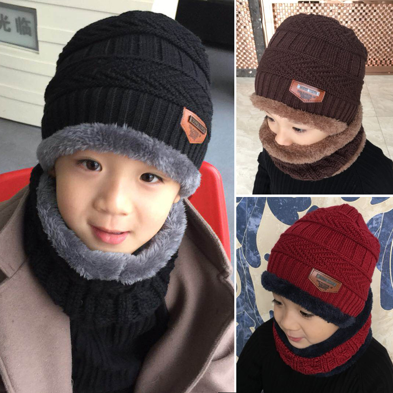 Kids Winter Knitted Hat Scarf Set Beanie Scarf for Boys Girls with Fleece Lining Slouchy Beanie Hat Circle Scarf Set for Children