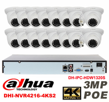 Dahua original 16CH 3MP H2.64 DH-IPC-HDW1320S 16pcs CCTV Network camera POE DAHUA DHI-NVR4216-4KS2 Dome IP security camera kit