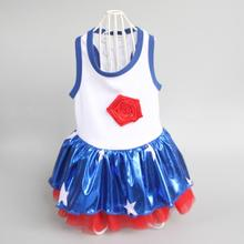 DogFad Navy Style Dog Dress Puppy Pet Clothes Striped Tulle Skirt Clothing dresses Medium and small dog pet clothes