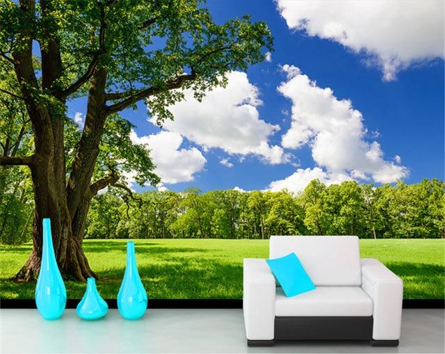 Fototapete Tv Hintergrund Der Blauen Himmel Gras Baum Frische