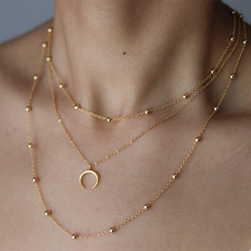 Fltmrh Fashion Perhiasan Emas Warna Moon Sun Star Liontin Kalung Bulan Sabit Liontin Panjang Kalung untuk Wanita Potongan/Set Wholesal