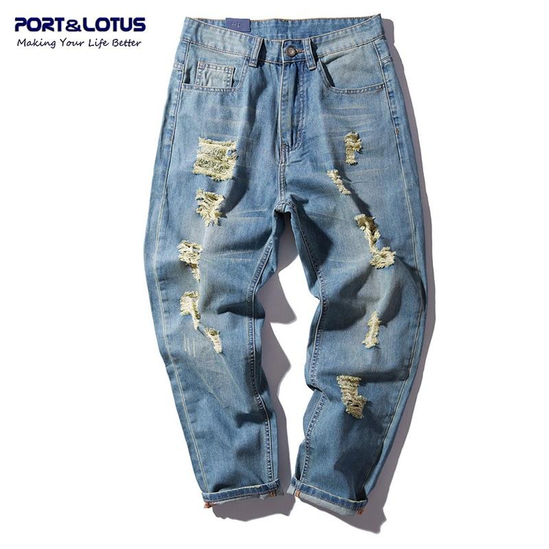 PORT&LOTUS Men Jeans Cotton Harem Denim Loose Long Pants Fashion Hole Mens Haren Jeans Men's Brand Clothing YP013 5092 aberdeen hitz cat men s jeans slim korean straight hole young haren long pants