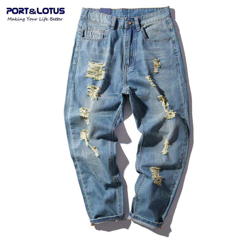 PORT&LOTUS Men Jeans Cotton Harem Denim Loose Long Pants Fashion Hole Mens Haren Jeans Men's Brand Clothing YP013 5092