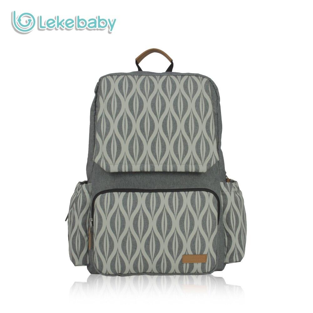Lekebaby Maternity Nursing Changing Mummy Bag Textile Printing Designer Diaper Bag Large Capacity Dad Backpack for Baby Stroller 200times min textile printing