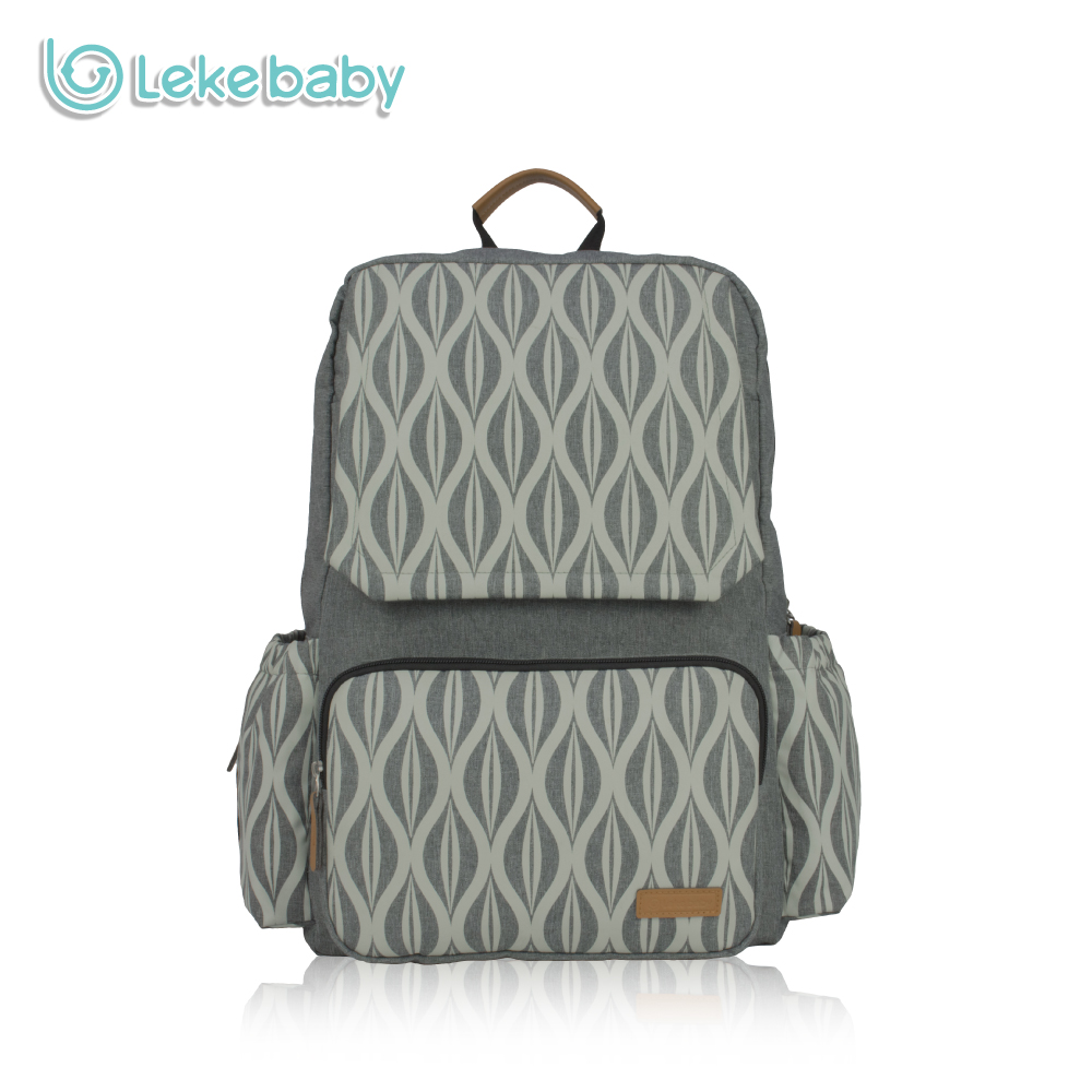 Lekebaby Maternity Nursing Changing Mummy Bag Textile Printing Designer Diaper Bag Large Capacity Dad Backpack for Baby Stroller