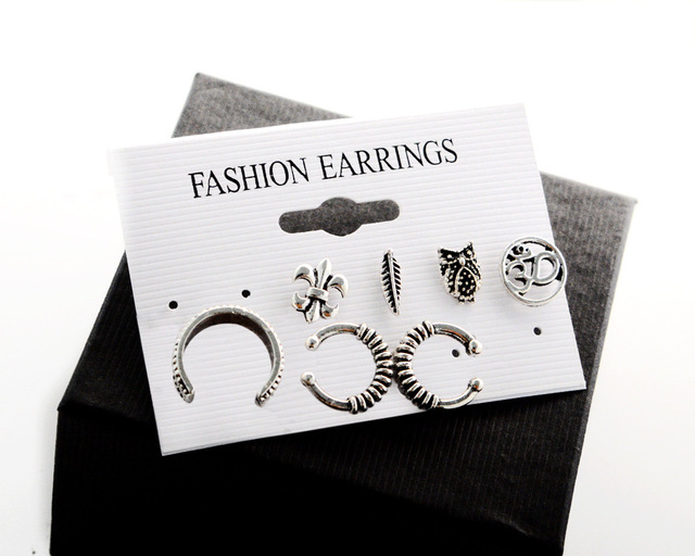 Summer Style Vintage Owl Stud Earrings 7pcs/Set Boho Leaf