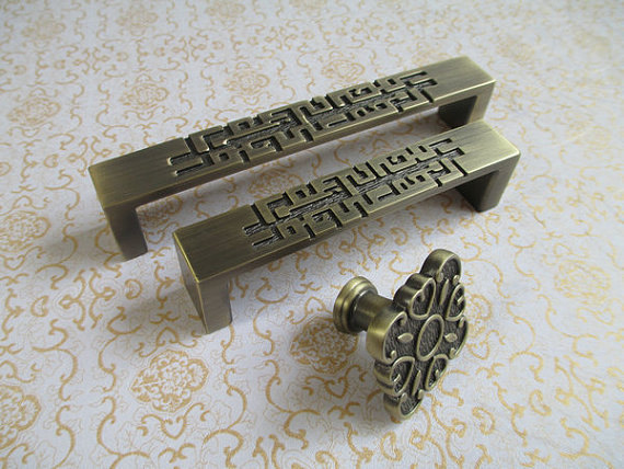 Dresser Pulls Drawer Pull Handles Square / Kitchen Cabinet Decorative Knobs  / Antique Bronze Vintage Style Furniture Hardware cabinet door handles pulls knobs gold bronze dresser drawer pull handles kitchen furniture cupboard hardware decorative art deco