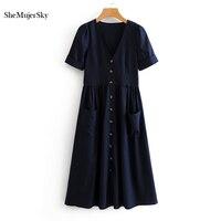 SheMujerSky Blue Women Vintage Dress 2018 Summer Short Sleeve Bodycon Midi Dresses With Pocket Button vestidos