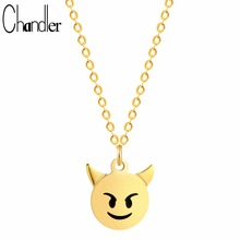Chandler Gold Color Silver Plated Round Angry Emoji Charm Necklaces Chain Link Clavicle Collars For Girls Daughter Birthday Gift