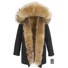 OFTBUY עמיד למים ארוך מעייל נשים אמיתי פרווה מעיל גדול טבעי דביבון פרווה הוד Streetwear להסרה הלבשה עליונה חדש