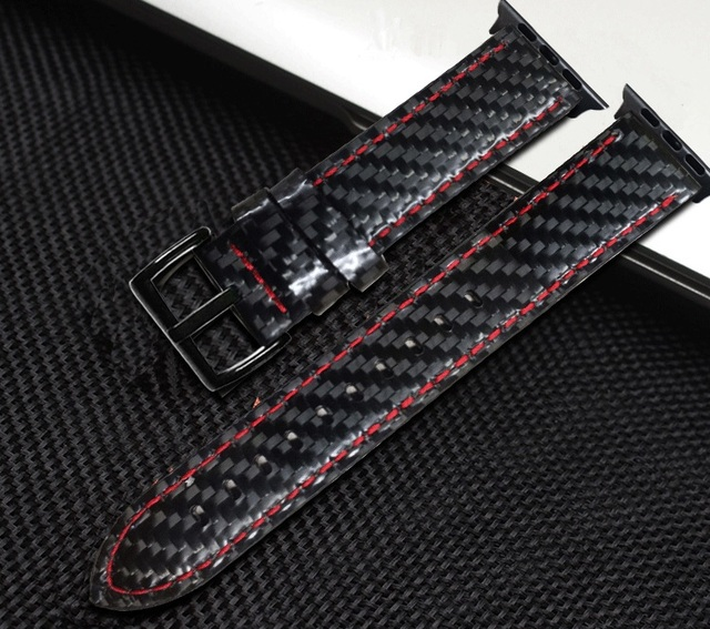 Watch Strap For Apple Watch Series 4 5 40/44mm Real Carbon Fiber with Leather Watchband For Apple Series 1 2 3 Band Bracelet | Fotoflaco.net