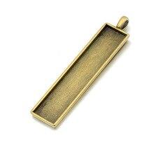 Прямоугольный брелок 10*50 мм для номерного знака автомобиля, брелки «сделай сам», античный бронз/посеребренный 100 шт.