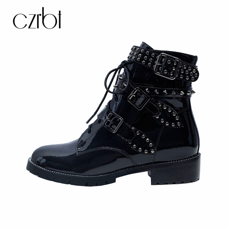 CZRBT New Spring Autumn Women Boots Shoes Ankle Handmade Square Heel Rivet Comfortable Fashion Concise Casual Ladies Shoes ...