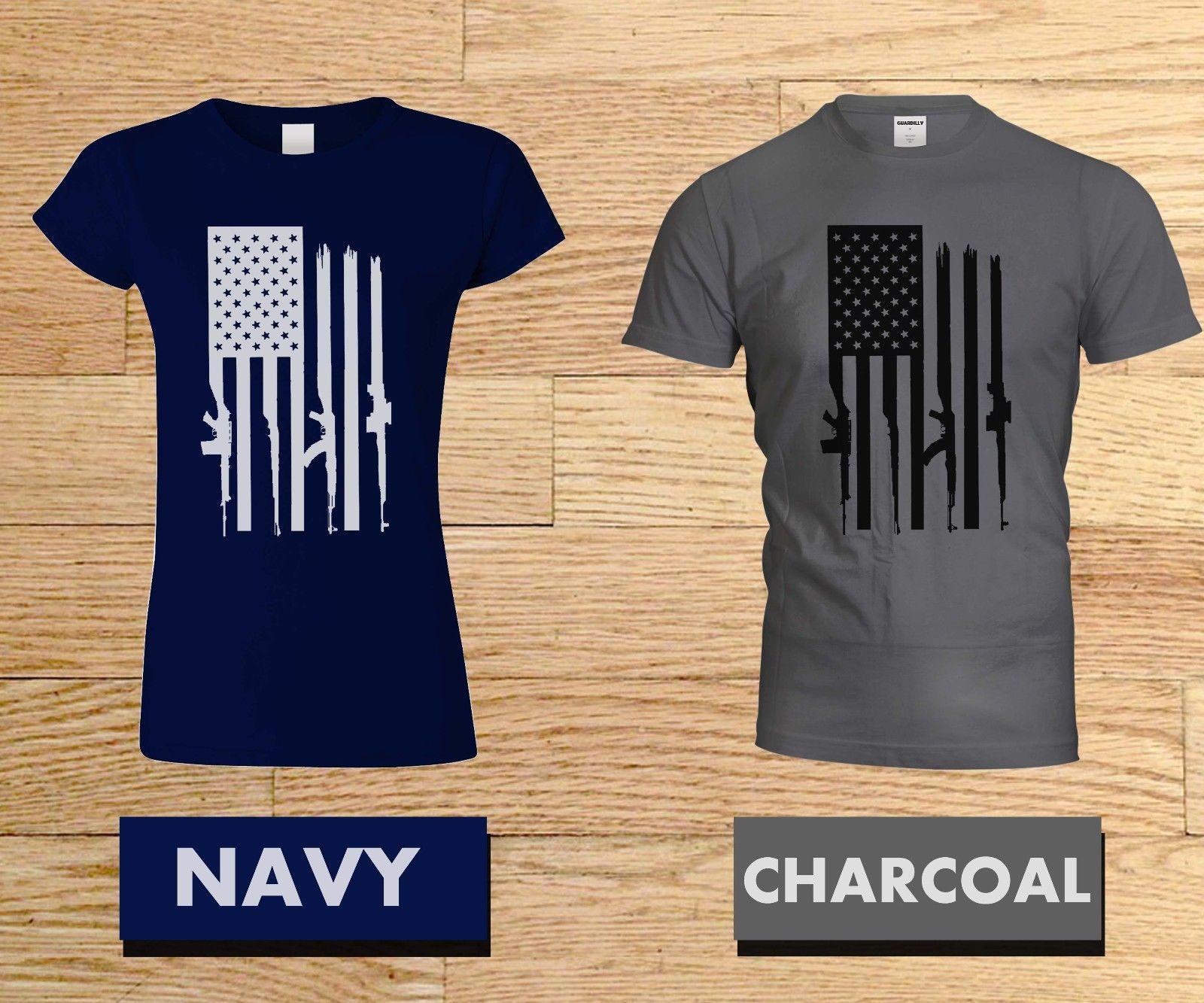 Rifle Flag American Military Womens Basic Short Sleeve Top Crew Neck T-Shirts