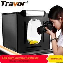 Travor F40 светодиодный складной софтбокс для фотостудии, светильник 40*40, светильник-палатка с белым, желтым, черным фоном, аксессуары, светильни...