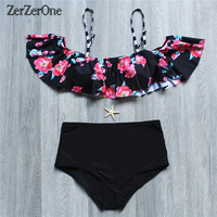 Bikini 2017 High Waist Swimwear Women Swimsuit Brazilian Print Bikinis Set Sexy Bandeau Bathing Suit Push