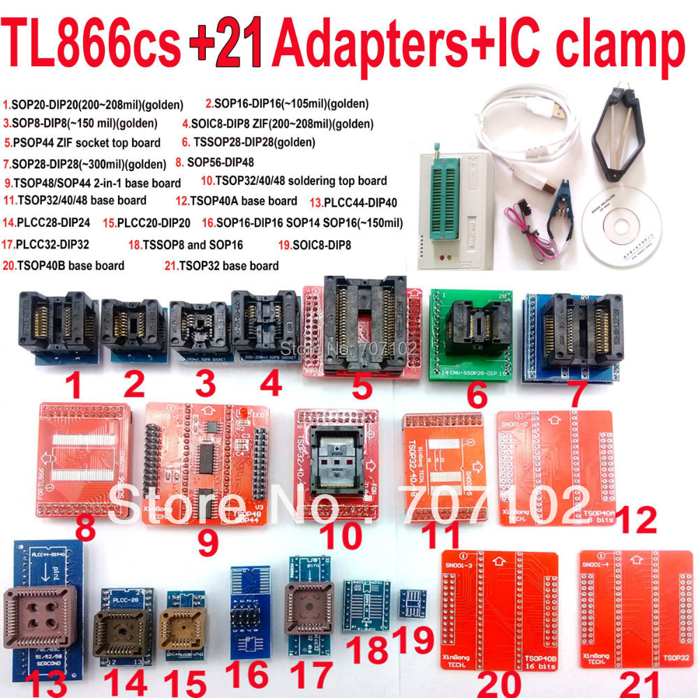 Original TL866CS Universal minipro programmer 21 adapters font b IC b font clip High speed TL866