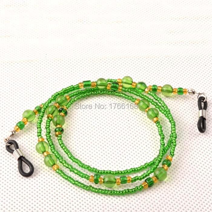 Wholesale 20PCS Green Acrylic Beaded Sunglasses eyewear cord string Eyeglass Neck Lanyards Retainers Holder Freeshipping