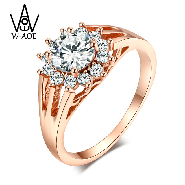 2019 New Luxury Fashion Jewelry Gold Color Wedding Rings For Women Girl Trendy Cubic Zircon Engagement Ring Valentine's Day Gift