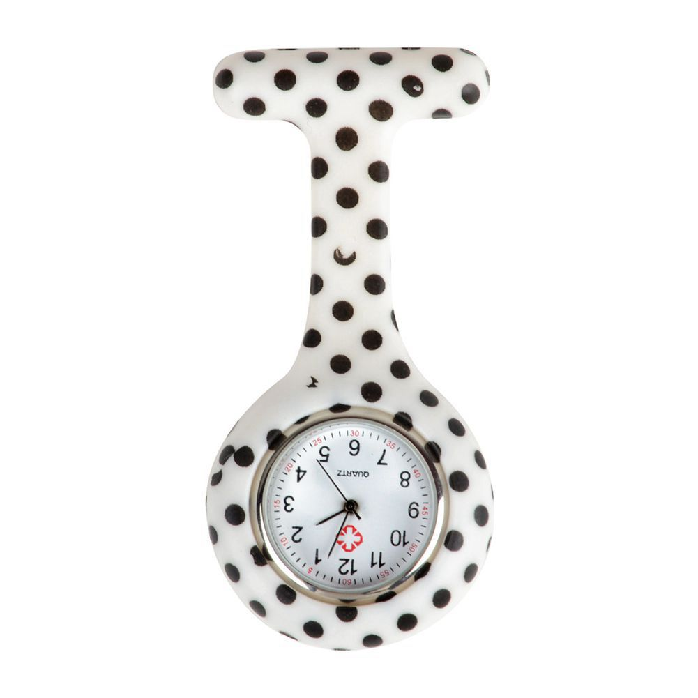 White Black Dot Pattern Silicone Nurses Brooch Tunic Fob Pocket Watch Stainless Dial