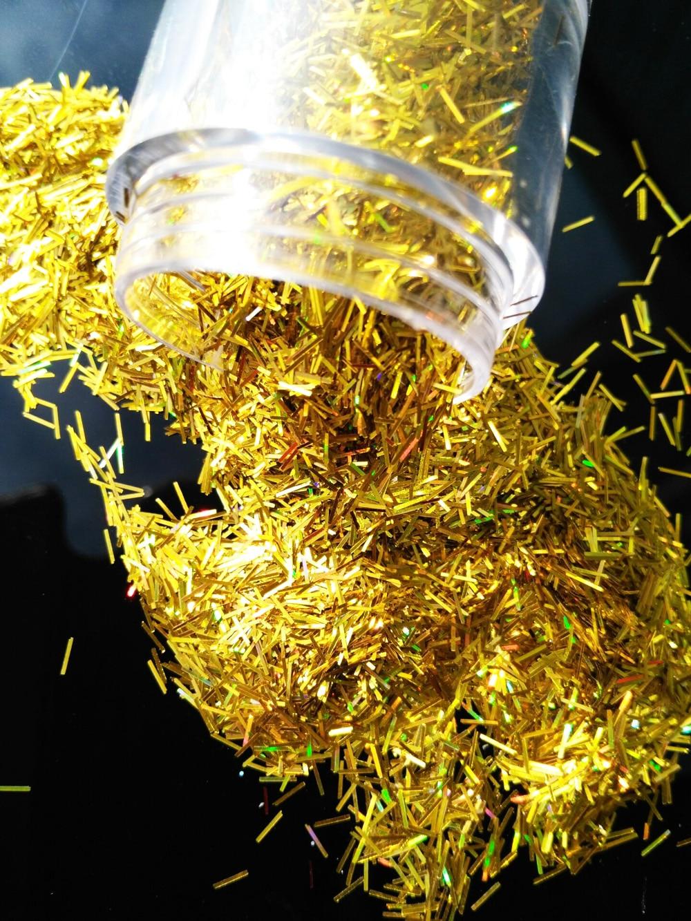 Nagelglitzer 10 Ml Jar Lb001001 1 Box 0,2*3mm Größe Gold Holographische Glitter Lametta Bar Streifen Form Glitter Für Nagel Kunst Und Andere Deco Schönheit & Gesundheit