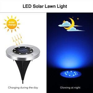 Image 5 - 4 sztuk RGB słonecznego lampa gruntowa wodoodporna ogród ścieżka światła pokładowe z 8 diody led Solar lampy dla domu stoczni podjazd trawnik drogowego