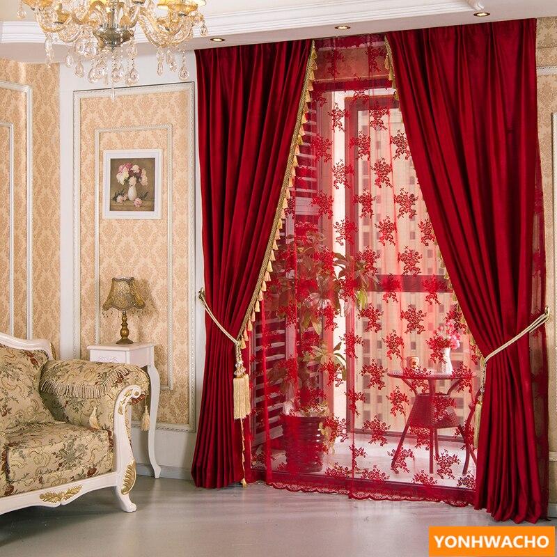 Red upscale Burgundy velvet thick cloth blackout curtain tulle drape B846