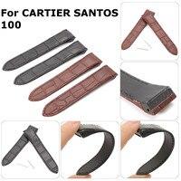 Ремешок из двух частей, 20 мм, высокое качество, кожа, черный/коричневый, мягкая кожа, ремешок с пряжкой для CARTIERS SANTOS 100
