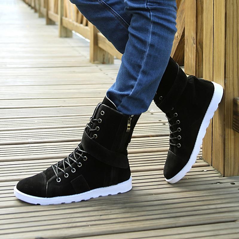 2017 Spring and autumn men boots tidal current male high top shoes men  canvas shoes men rivet brand casual shoes-in Men s Casual Shoes from Shoes  on ... 40609847e