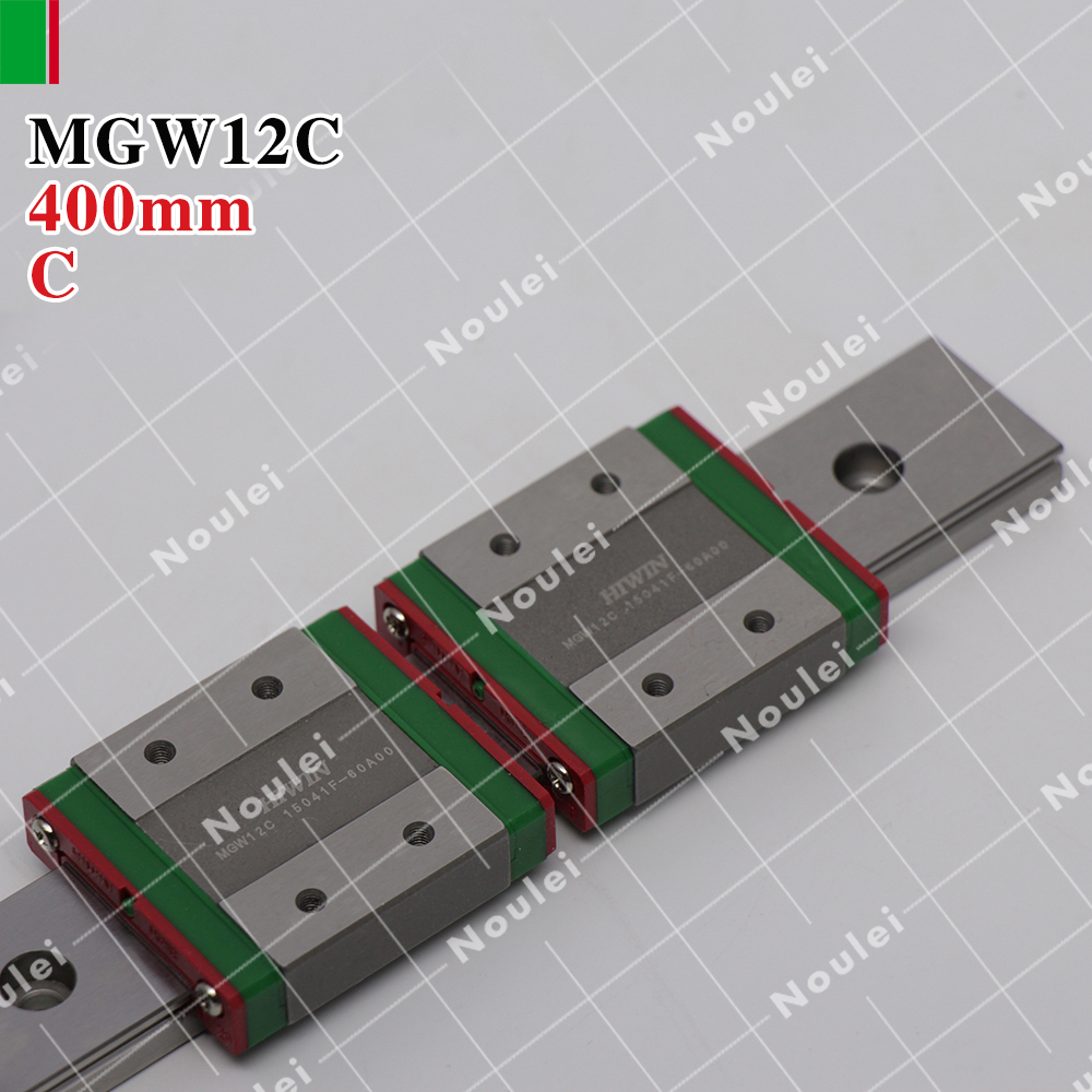 HIWIN MGW12C mini MGW12 slider with 400mm MGWR12 linear guide rails for 3d printer High efficiency CNC parts 12mm MGW 2pcs hiwin hgh25ca linear guide slider block linear rails carrier