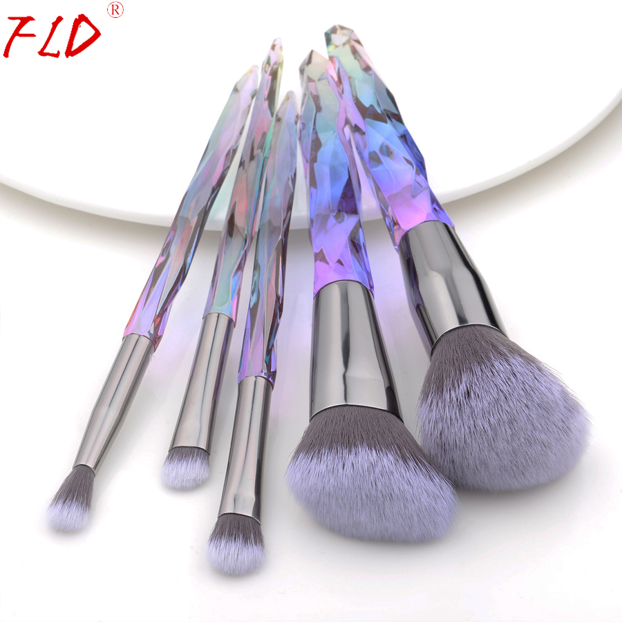 FLD 5Pcs Crystal Style Makeup Brushes Set Powder Foundation Eye Blush Brush Cosmetic Professional Makeup Brush Kit Tools