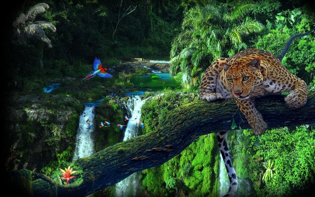 Online Shop Benutzerdefinierte Stoff Poster Dschungel Holz Leopard