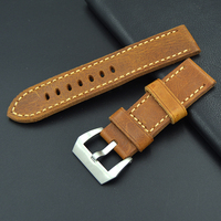 Fast delivery soft Calf Genuine Leather Watch Strap 22mm 24mm High grade fashion strap For Panerai PAM Steel buckle Watch Band
