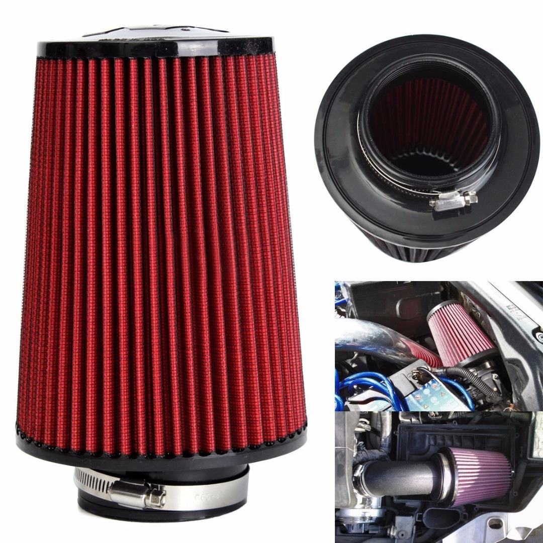Universal Red Cotton Gauze Car Cold Air Intake Cleaner Auto Trunk 3 High Flow Cold Air Intake Filter Tapered Cone Cleaner