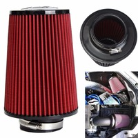 Universal Red Cotton Gauze Car Cold Air Intake Cleaner Auto Trunk 3 High Flow Cold Air