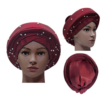 Newest African Already-Made Aso oke Auto-Gele Ladies Headtie For Wedding Multi-Color Available DHL Free Shipping h181025