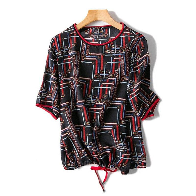 Pure soie femmes mode imprimé lâche t-shirt pull bas col rond manches courtes cordon ourlet M/L détail mix vrac négociable