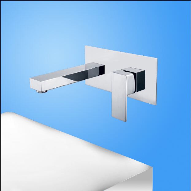 fashion high quality chrome brass single lever square wall mounted Hot and Cold bathroom sink faucet basin tap