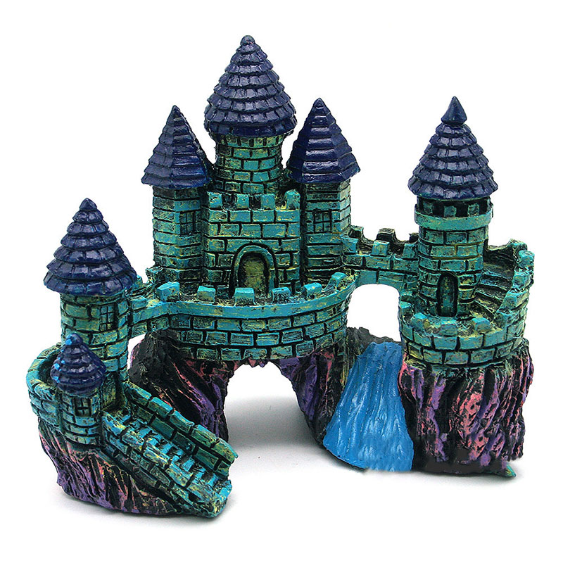 Cartoon Castle Tower Aquariums Decoration Resin Castle Landscaping For Fish Tank Aquarium Fish Escape Cave Ornaments