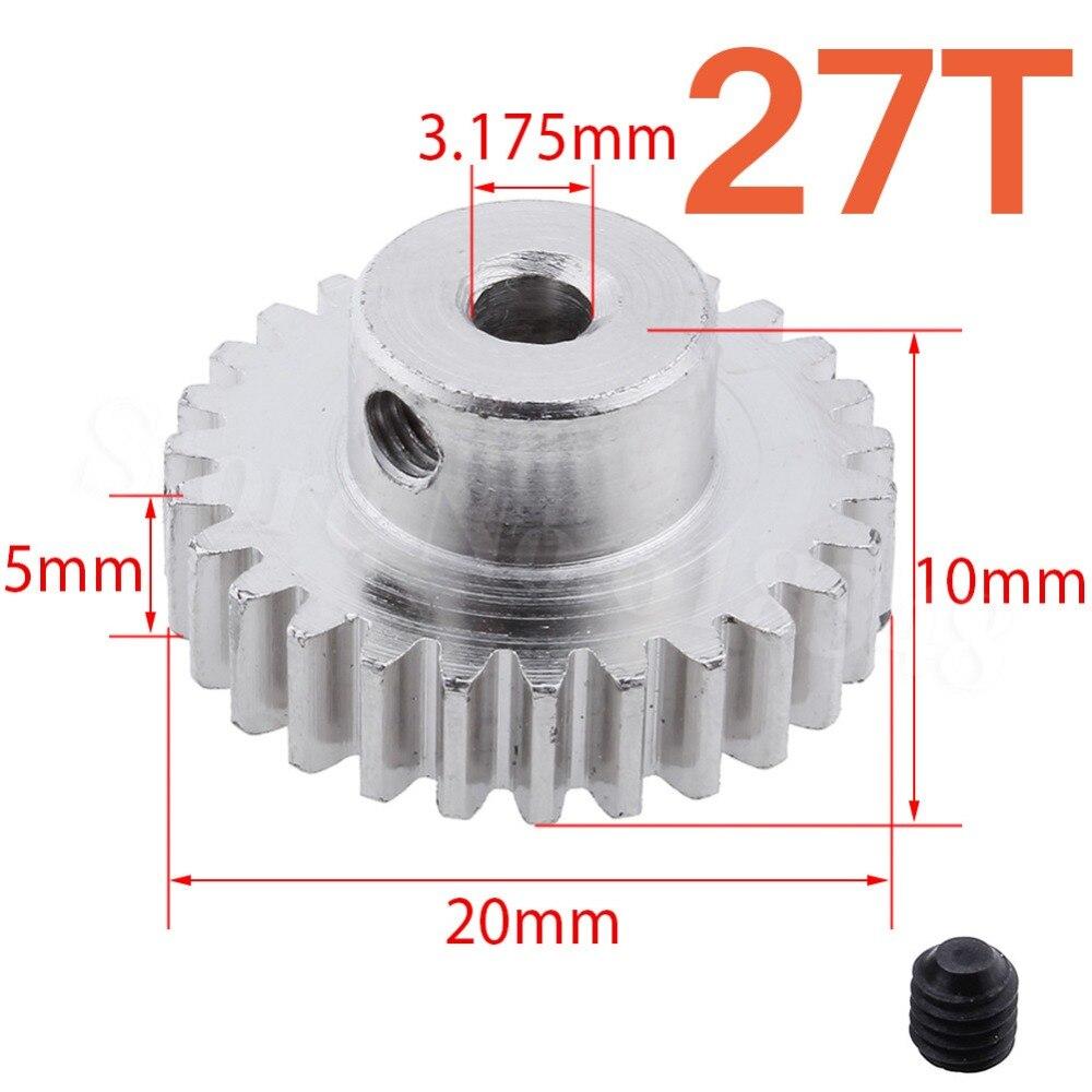 Metal 27 Teeth Motor Pinion Gear Diameter hole: 3.175mm Fit 540 Engine Motors For RC WLtoys 1:18 A959 A969 A979 k929 Model Car