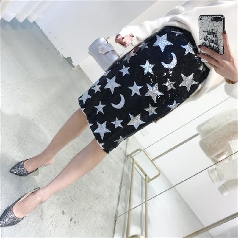 Streetwear Primavera Faldas Falda Mujeres Luna Saia Wang Oro plata Moda Lentejuelas Midi Estrellas 2018 Whitney ngxaqPwzIw