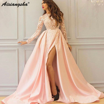 Sexy Long Sleeves Pink Arabic Evening Dress 2019 Saudi Arabia Formal Prom Party Gowns vestidos longos de festa noite