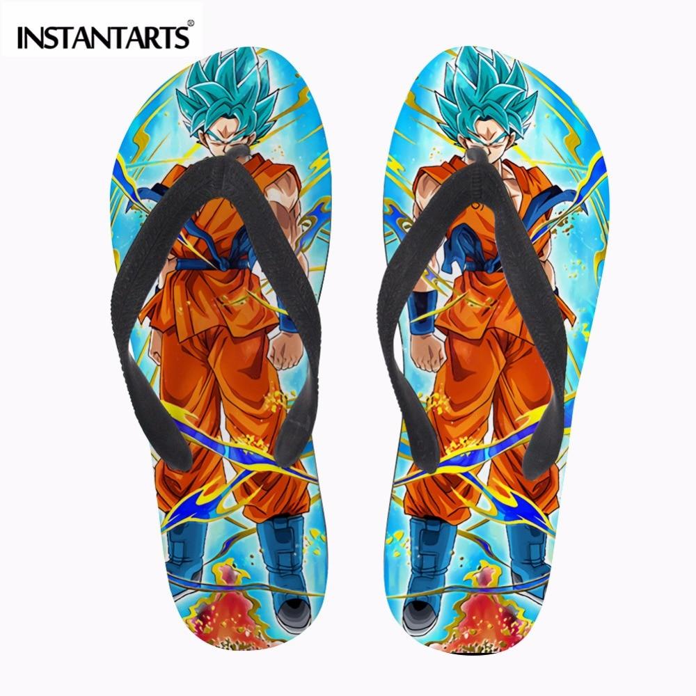 INSTANTARTS Fashion Anime Dragon Ball Z Print Mens Summer Slippers Cool Super Saiyan Son Goku Flip Flops Rubber Beach Flip-Flop