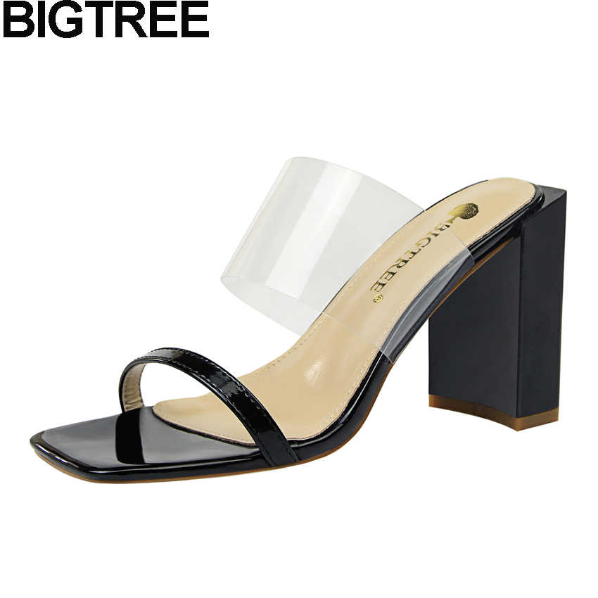 3f0caa111c Detail Feedback Questions about BIGTREE Women Summer Open Square Toe Sandals  Slippers PVC Clear Strap Thick Block High Heels Woman OL Mules Slides Sexy  ...