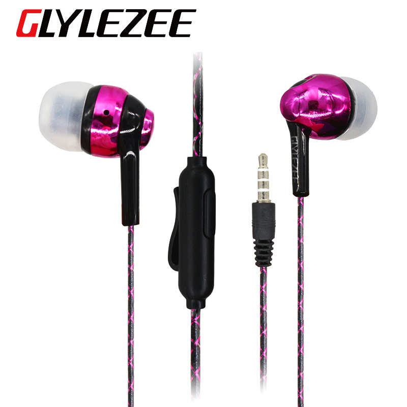 Glylezee G3 Luminous Electroplating Head Earphone Headset Stereo MP3 Music Earpieces with Microphone with Retail Package