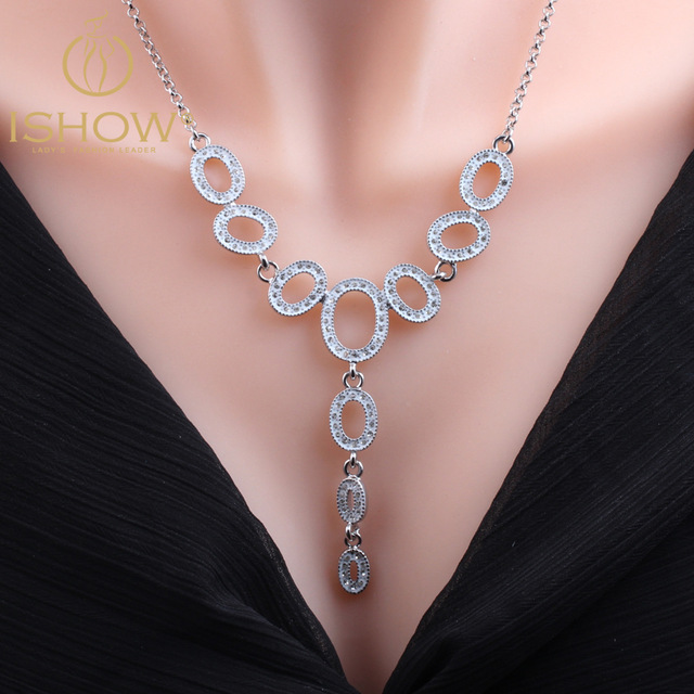 ISHOW Official Store Exaggerated necklace bijoux colier silver chain Rhinestone long necklace silver chain round necklace gros collier femme 2016