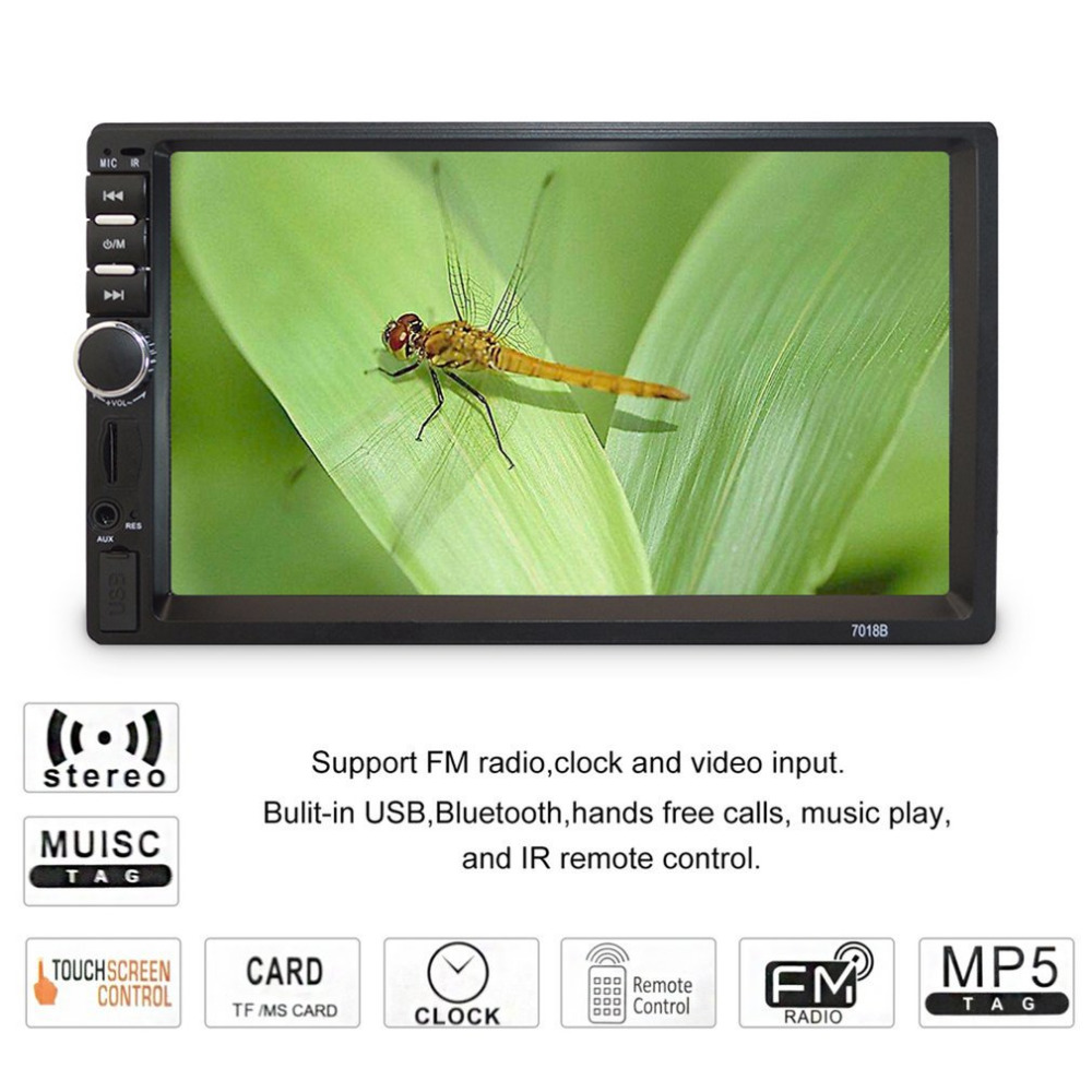 7 inch HD Touch Screen Car Mp5 Player Bluetooth In Dash DVD 12V 2 Din Car Stereo Radio FM Function AUX USB MP3 Player Support TF