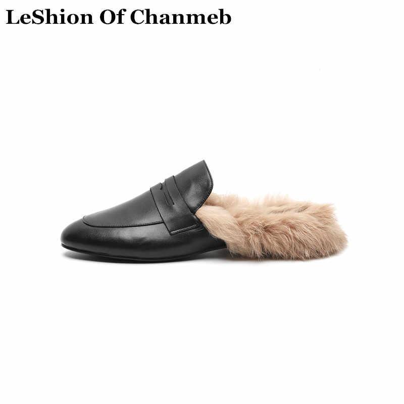 806498f8abd Guenunie cuero mocasines mujeres Real conejo piel mulas pisos zapatos  calientes del invierno del otoño Zapatillas